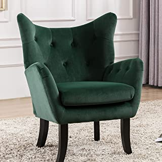 Merax Modern Wingback Accent Chair Armchair with Tufted Button and Wooden Legs for Bedroom, Living Room or Office, Green