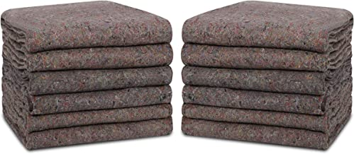 Textile Moving Blankets 12 Packs - 54 x 74 Inches (20 lb/dz) Moving Pads for Short Term Moves & Storage, Shipping Furnitur...