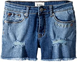 "2 1/2"" Fray Hem Shorts with Embroidery in Orion (Big Kids)"