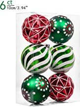 Valery Madelyn 6ct 100mm Classic Collection Splendor Red Green White Shatterproof Christmas Ball Ornaments Decoration,Themed with Tree Skirt(Not Included)
