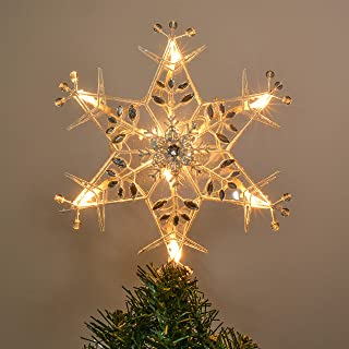 Valery Madelyn 10-Light 11.4 Inch Frozen Winter Silver White Star Treetop, Metal Christmas Tree Topper, Battery Operated (Not Included)