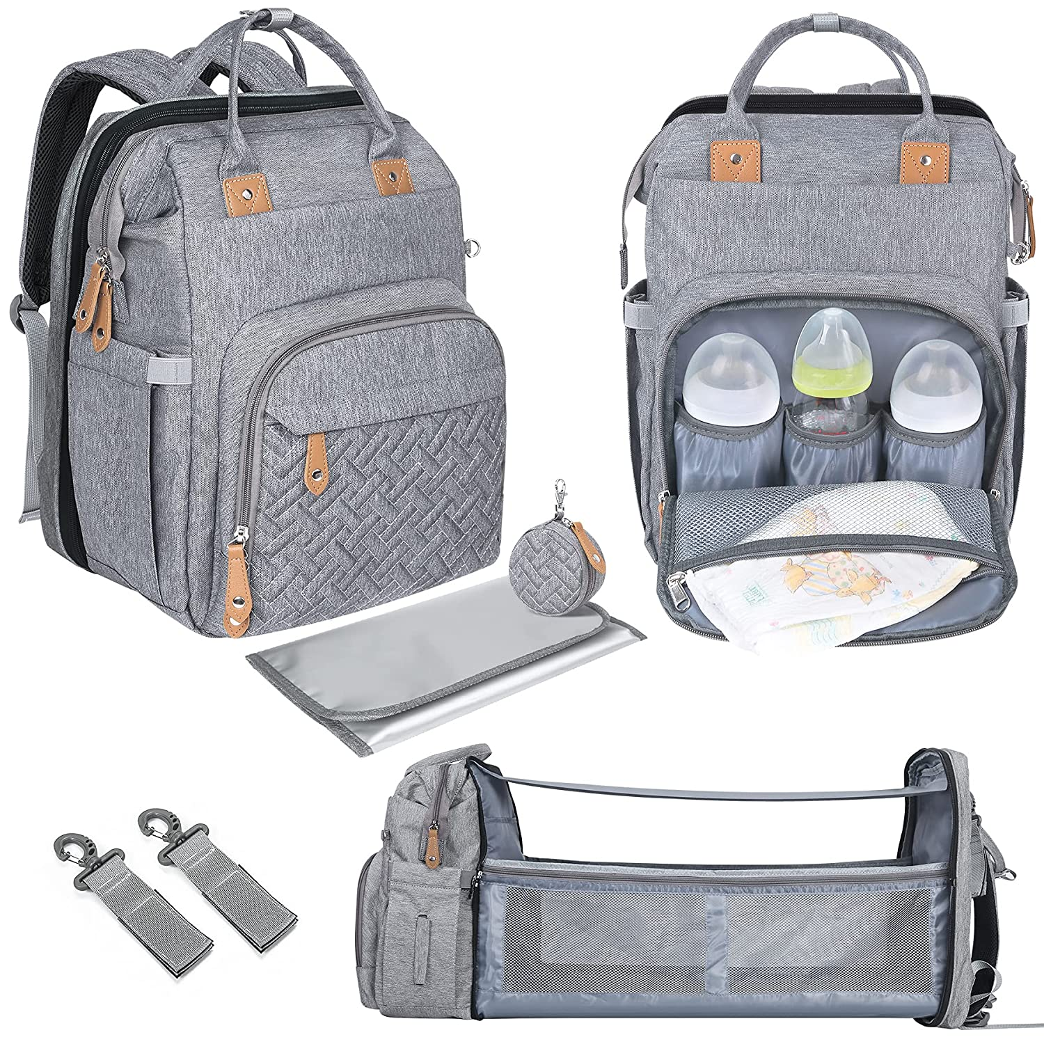 Diaper Bag Backpack with Changing Bed Travel Bassinet Station, Pacifier Case and Stroller Straps, Soft Changing Pad, Large Capacity, Multifunctional Pockets, Stylish Style for Mom and Dad - Grey