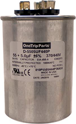 OneTrip Parts USA Run Capacitor 40+5 UF 40//5 MFD 370 VAC 2 Inch Round