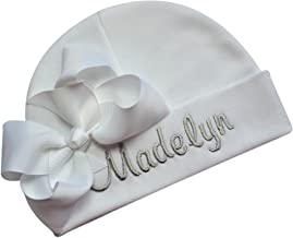 Personalized Embroidered Baby Girl Hat with Grosgrain Bow with Custom Name