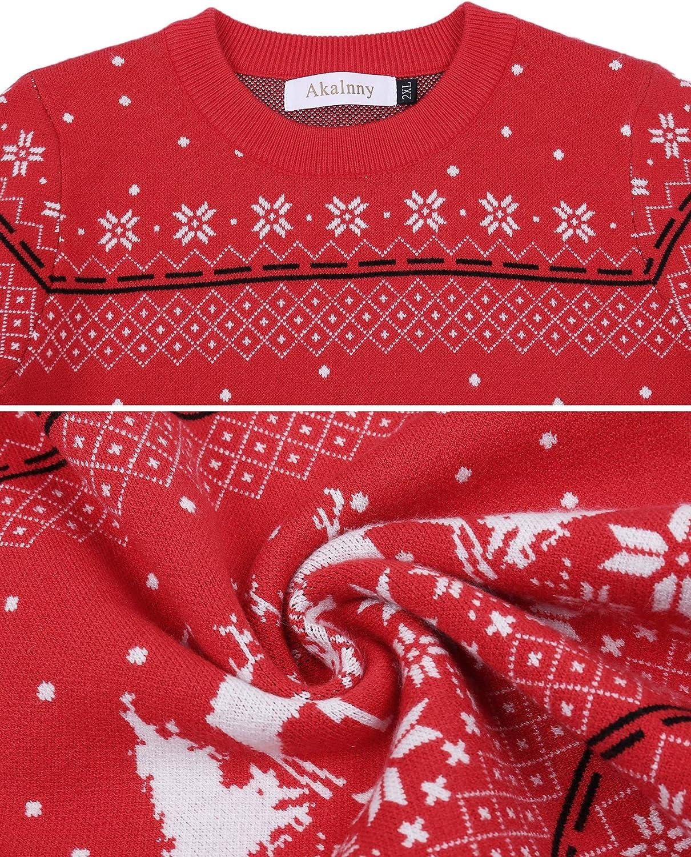 Akalnny Su/éteres de Navidad Punto con Cuello Redondo Jersey Casual de Manga Larga para la Familia Hombres Mujeres Ni/ños