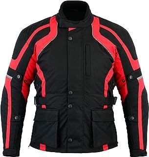 Texpeed Mens Black & Red Motorcycle Motorbike Biker Waterproof Jacket With CE Armour (EN 1621-1) - Texpeed - All Sizes