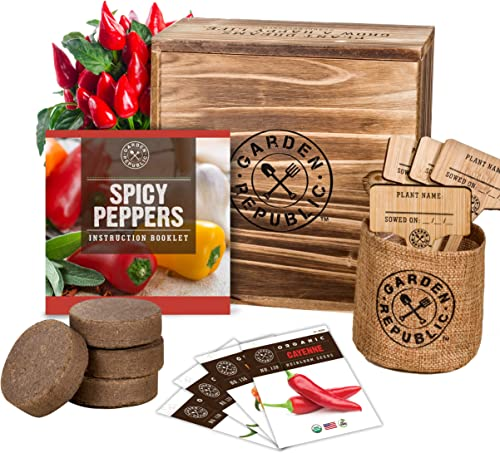 Indoor Garden Pepper Seed Starter Kit - 4 Non GMO Hot Peppers Seeds for Planting, Pots, Planter Box, Scissor, Plant M...