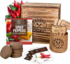 Indoor Garden Pepper Seed Starter Kit - 4 Non GMO Hot Peppers Seeds for Planting, Pots, Planter Box, Scissor, Plant Marker...