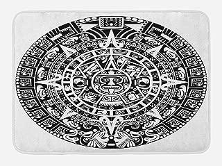 Lunarable Aztec Bath Mat, Mayan Calendar End of The World Prophecy Mystery Cool Culture Design Print, Plush Bathroom Decor Mat with Non Slip Backing, 29.5