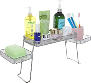 Modern Perforated Chrome Plated Metal Countertop Organizer/Bathroom Tray with 3 Shelves