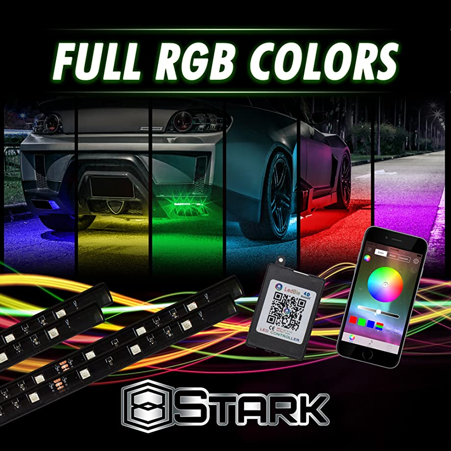 4 PCS - LED Neon Undercar Glow light/Underglow / Show Car Lights Kit - LED Strip Underbody Kit RGB - 47.0