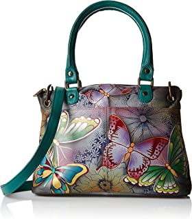 Women's Leather Small Satchel Handbag, Hand-Painted Original Artwork