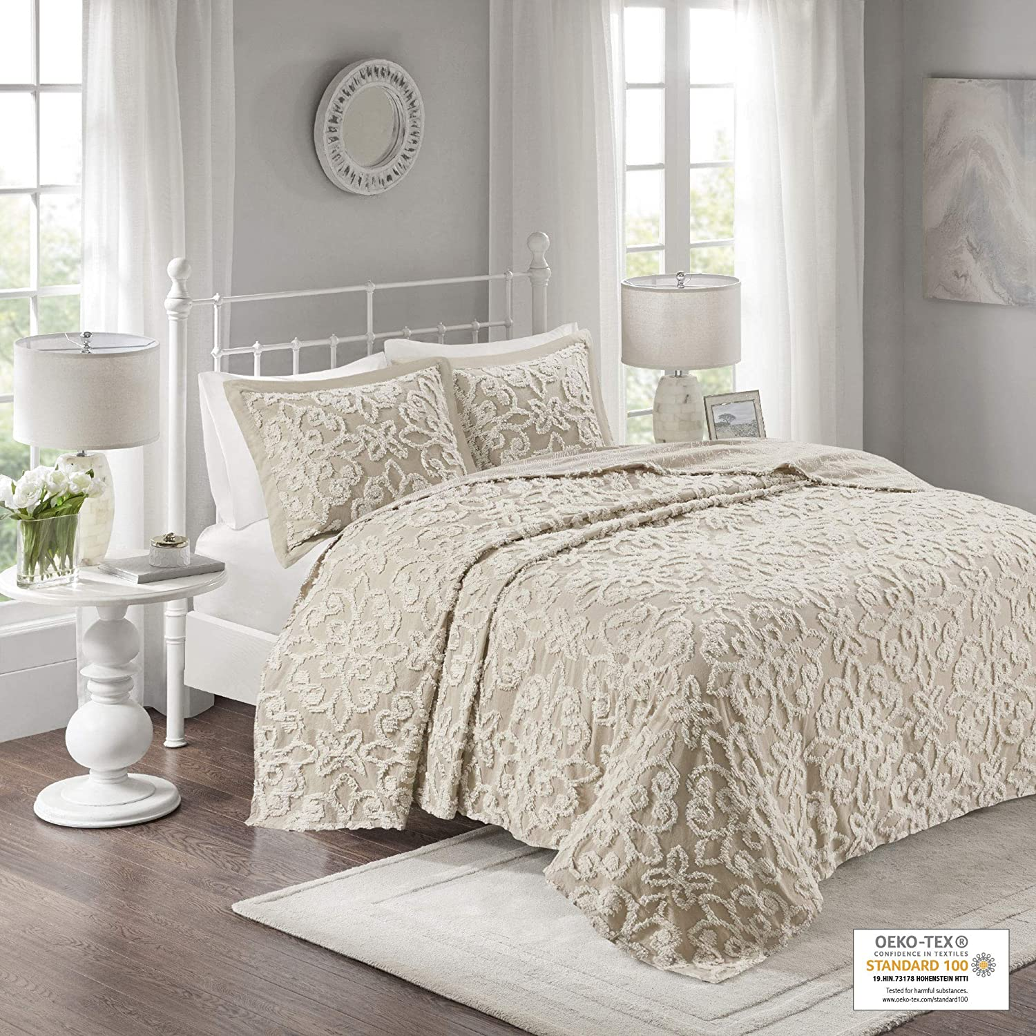 Madison Park MP13-7124 Chenille Tufted 100% Cotton Quilt Season, Lightweight, Breathable Coverlet Bedspread Bedding Set