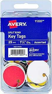 علامات مفاتيح Avery المعدنية حافة معدنية بقطر 3.17 سم، حلقة معدنية مقسومة بألوان متنوعة، 25 بطاقة (11020)