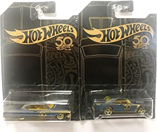 Hot Wheels 50th Anniversary Black & Gold Collection, New 1:64 - Dodge Dart & Impala Set of 2pcs Diecast Model Car By HotWheels