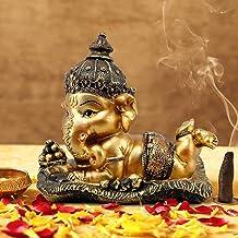 Tied Ribbons Ganesh Idol for Home Décor Hindu God Lord Ganesha Statue for Car Dashboard Decorative Item (16 cm X 12.9 cm)...