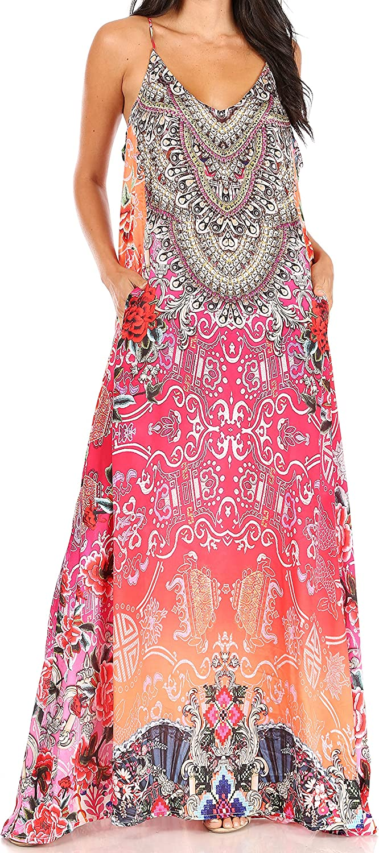 Sakkas Sofia Women's Spaghetti Strap V-Neck Floral Print Summer Casual Maxi Dress