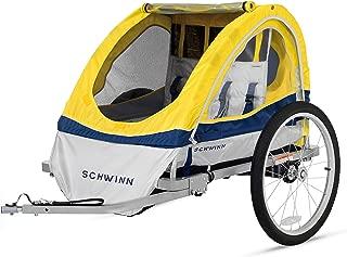 Schwinn Echo Kids/Child Double Tow Behind Bicycle Trailer, 20 inch wheel size, foldable, yellow (Renewed)