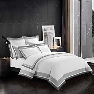 Casabolaj Shading 3 Pieces Duvet Cover Set 100% Egyptian Cotton Sateen Luxury 400 Thread Count-Classic and Contemporary Frame Patchwork Button Closure and Corner Ties-White/Silver/Grey (Queen)