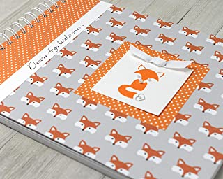 Fox Baby Memory Book (4 Center Designs) - Personalized Hard Cover First Year Album - Little Foxes & Orange Polka Dots