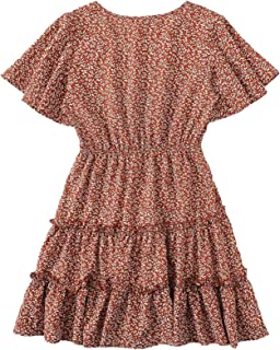 Women's Short Ruffle Sleeve V-Neck Floral Print Frill Pleated A-Line Dress