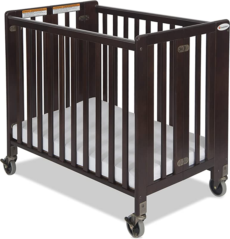 Foundations Hideaway Full Sized Folding Crib Antique Cherry