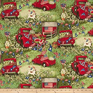 Springs Creative Products Susan Winget Patriotic Picnic Digital Woven Fabric, Red, Fabric By The Yard