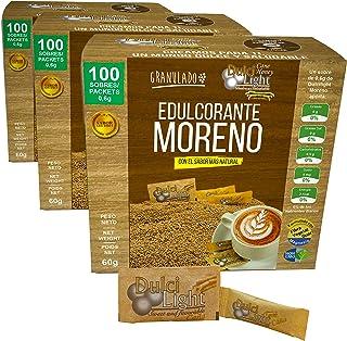 Édulcorant Brun Granulé 0% Calories DulciLight   Pack de 3 x 100 sticks chacun = 300gr   100% Naturel   Arôme naturel de s...