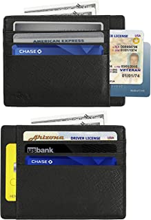 RFID Blocking Credit Card Holder Genuine Leather - Slim & Thin 8 Card Slots RFID Credit Card Holder for Women and Men - Minimalist Front Pocket Wallet Design Protects All Credit, ID Cards