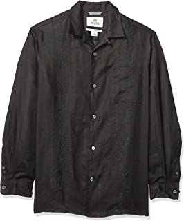 Marca Amazon - 28 Palms – Camisa guayabera bordada de manga larga, corte holgado, de lino 100 % para hombre