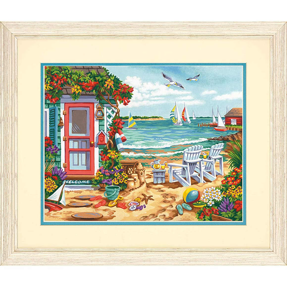 Dimensions Summertime Beach Paint by Numbers Kit for Kids and Adults, 11'' x 14''