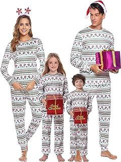 Pyjama Noel Enfant Adulte Vintage Famille Pyjamas Deux Pieces Manche Longue Combinaison a Carreaux V/êtements de Nuit Femme Homme Fille Gar/çon Ensemble Pantalon et Haut avec Bouton Homewear Sleepsuit