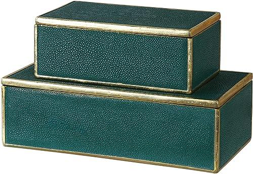 "wholesale Uttermost wholesale 18723 Karis - 11.75"" Box (Set of 2), Emerald Green/Bright Gold discount Leaf Finish outlet online sale"