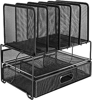 Amazon Basics Module de rangement - trieur de bureau grillagé, avec tiroir coulissant, deux plateaux et 5 divisions vertic...