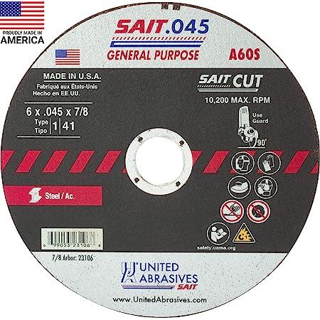 """Pack Type 1 Sait 23324-25PK 4-1//2/"""" x 0.045/"""" x  7//8/"""" Z-Tech Metal Cut Off Wheel"""