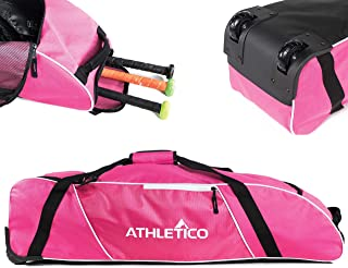 Sponsored Ad - Athletico Rolling Baseball Bag - Wheeled Baseball Bat Bag for Baseball, TBall, Softball Equipment for Youth...