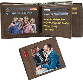 Custom Wallets Personalized Photo Wallet Gifts RFID Blocking for Men Fathers Day