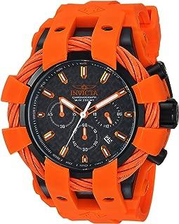 Men's Bolt Stainless Steel Quartz Watch with Silicone Strap, Orange, 30 (Model: 23872)