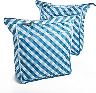 Rachael Ray Market Tote Bags, Set of 2 Reusable Grocery/Shopping Bags, Zipper Top, Foldable, Marine Blue Picnic Plaid