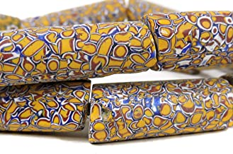 Millefiori Venetian Trade Beads Yellow Matched African 26 Inch