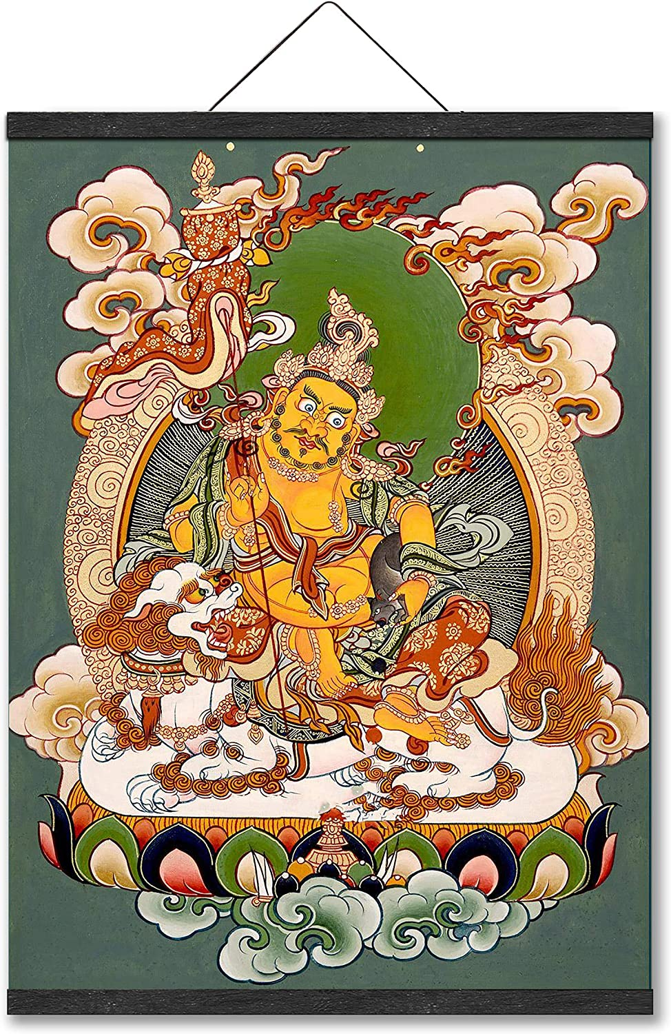 Kubera The God of Wealth The King of Wealth Yellow Fortune God Tibetan TangKa Thangka Buddhist Thang-ga Religion Gifts Hanging Poster Oriental Buddhist Artwork Wall Art for Home Décor Yoga Meditation Feng Shui Picture Canvas Prints with Magnetic Hanger Clip Frame (20 x 26 Inch)
