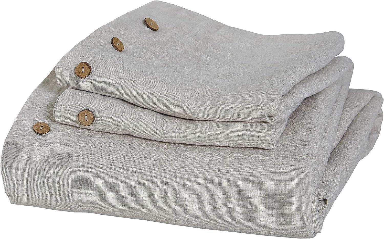 Pure French Linen 3PC Duvet Cover Ful Color Set in Regular dealer Very popular Natural