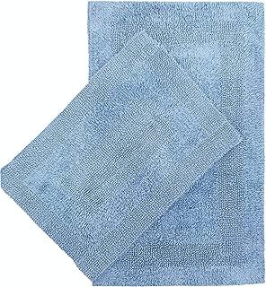 Cotton Bath Mat Set- 2 Piece 21x34/17x24-100% Cotton Reversible Soft Absorbent and Machine Washable Bathroom Rugs - Spa Blue