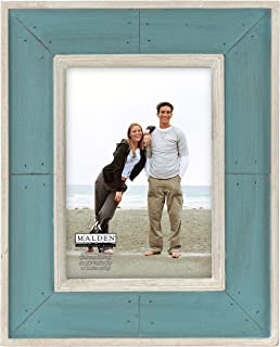 Malden International Designs Sun Washed Woods Turquoise Distressed With Inner Frame Border Picture Frame, 5x7, Turquoise