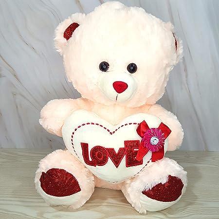 Kiddie Toys Super Soft Premium Huggable Faux Fur Cream Teddy Bear with a Heart   Baby Girl Boy Kid Girlfriend   Stuffed Soft Toy (Cream, 45 cm)
