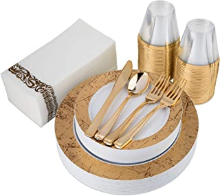 200-Piece Gold Marble Plastic Plates, Gold Plastic Cutlery, Gold Rim Clear Plastic Cups and Guest Towels - Service for 25 Guests Elegant Disposable Dinnerware Set for Wedding, Party, Holiday