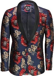 Mens Retro Flocked Print Red Navy Floral Tuxedo Jacket Smart Designer Style Tailored Fit Blazer