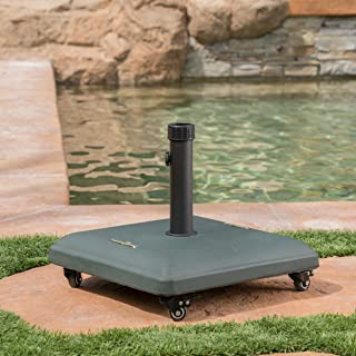Christopher Knight Home 303990 Louise Outdoor Green Concrete Square 80lb Base with Steel Umbrella Holder, 19.60 x 19.60 x 16.30