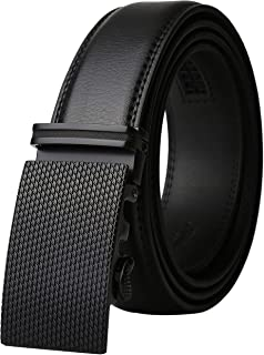Men's Real Leather Ratchet Dress Belt with Automatic Buckle,Elegant Gift Box
