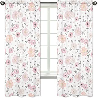 Sweet Jojo Designs 2-Piece Blush Pink, Grey and White Window Treatment Panels Curtains for Watercolor Floral Collection
